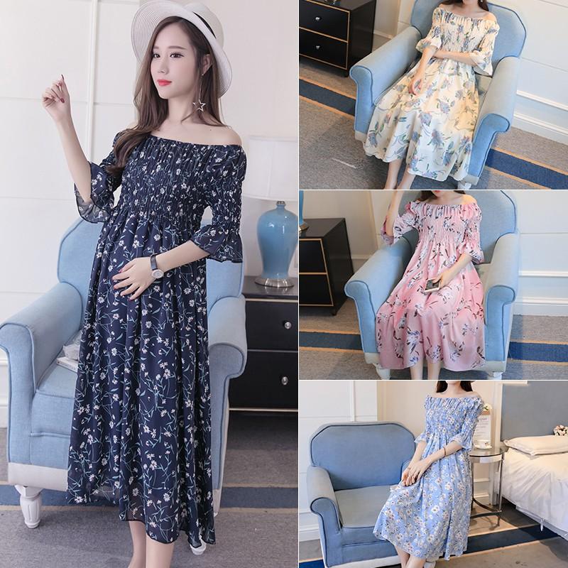 Đầm bầu , váy bầu trễ vai nâng động thích hợp cho công sở dọ phố
