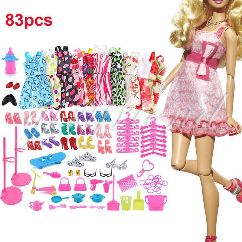 Doll Dresses Beautiful 83PCS/Set Girls Women'S Fashion