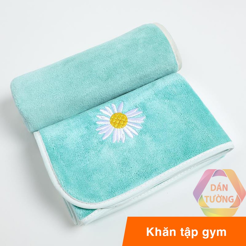 Khăn tập gym vải siêu mềm thấm hút mồ hôi cực tốt 35x75 cm MDT, khăn thể thao hình hoa CÚC không ra lông _KTT