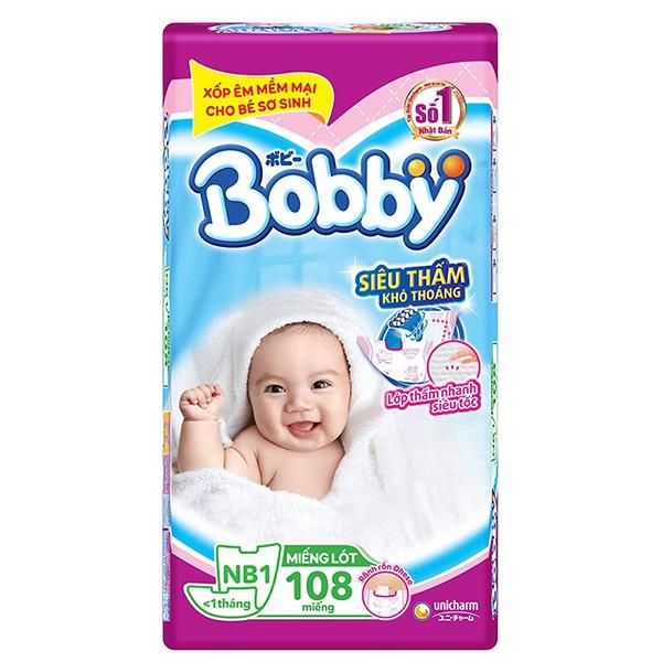 [Mã 157FMCGSALE giảm 8% đơn 500K] [Tặng 3 miếng tả dán] Tã- Miếng lót sơ sinh Bobby NewBorn1 NB1-108 miếng