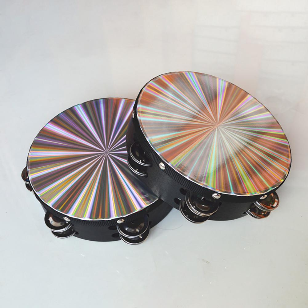 8 Inch 10 Plink Sound Flapping Double Row Reflective Shaking Wooden Tambourine