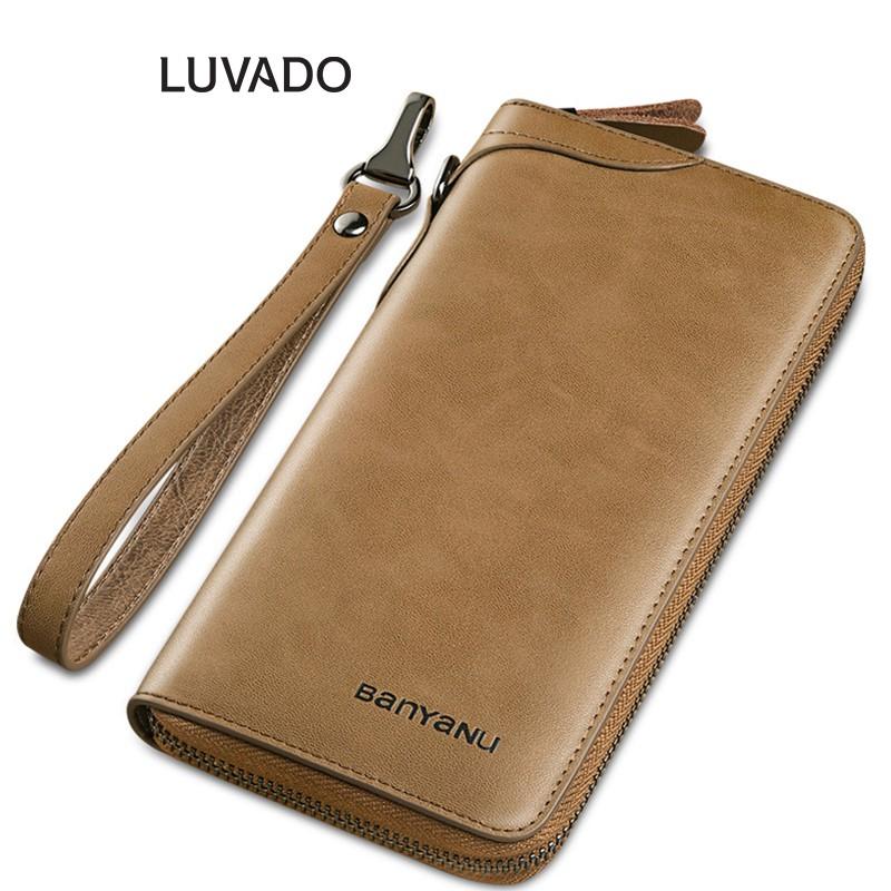 Ví nữ dáng dài cầm tay da thật cao cấp BANYANU nhiều ngăn thời trang đựng tiền đẹp LUVADO VD355