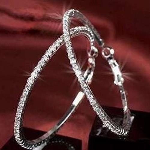 Bông tai tròn cỡ lớn đính đá giả kim cương