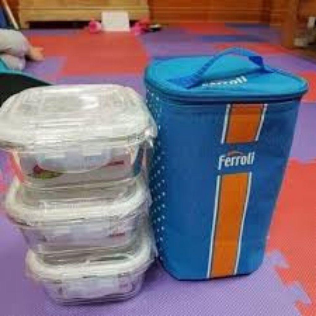 Bộ hộp thủy tinh kem túi giữ nhiệt Ferroli, bộ 3 hộp thủy tinh dung tích 500ml