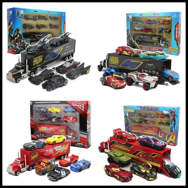 MPG 7pcs Disney Pixar Car & Batman & Avengers Car Toy Set Gift Toys for Children+Box