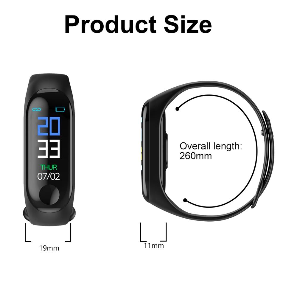 Vòng Đeo Tay Thông Minh Huay M3 Kết Nối Bluetooth Theo Dõi Sức Khỏe Kèm Phụ Kiện