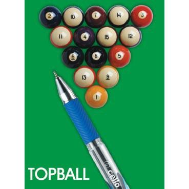 Hộp 12 bút bi bấm CELLO TOPBALL Ấn Độ (xanh - đỏ - đen) chính hãng