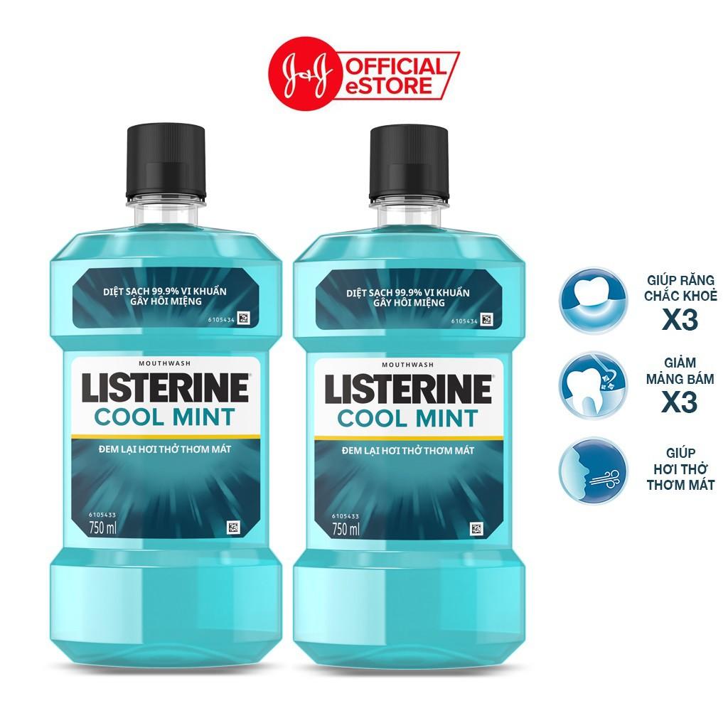 Bộ 2 chai nước súc miệng diệt khuẩn giữ hơi thở thơm mát Listerine Cool Mint 750ml/chai - 100945524