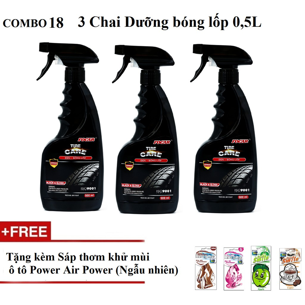 Combo 3 chai Nước dưỡng đen bóng lốp Focar Tire Care 0,5L (Tặng kèm Khử mùi oto)