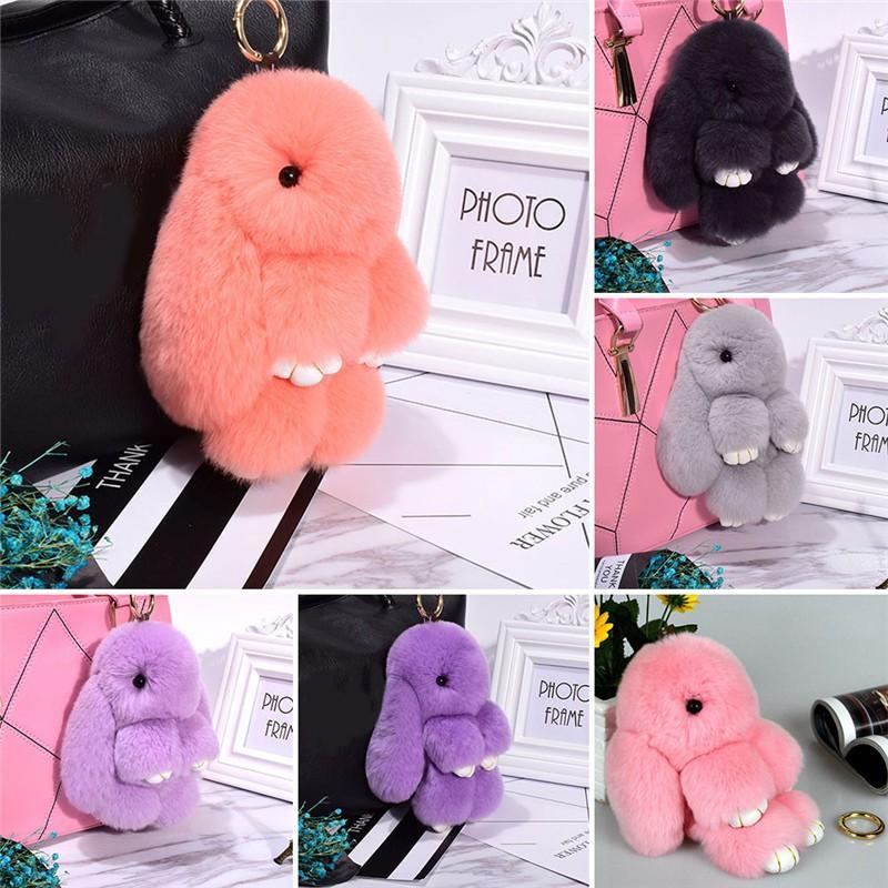 DF Key Chain Cute Bunny Keychain Ring 13cm Rabbit Faux Pompom