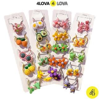 Set 5 dây thun và kẹp tóc 4LOVA kiểu dáng dễ thương cho bé gái từ 1 đến 10 tuổi