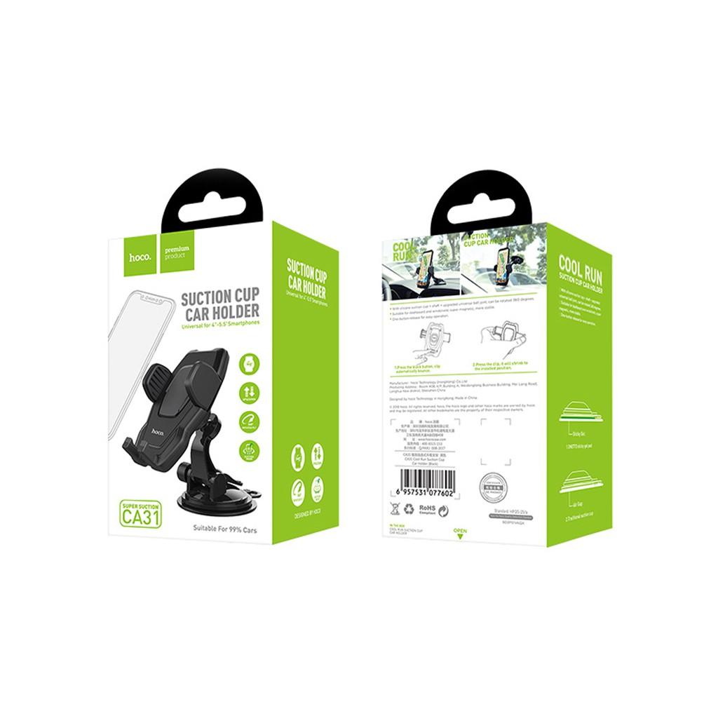 Giá đỡ điện thoại với tay cầm chắc khỏe - điều chỉnh nhiều hướng góc độ - chân hút kính để bàn taplo Ghế ô tô Hoco CA31