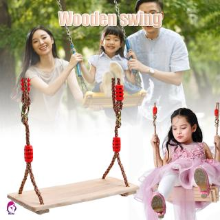 【Hàng mới về】 Nostalgic Children Adult Wooden Hanging Swings Seat with Height Adjustable Rope Per Side 4pcs Wood