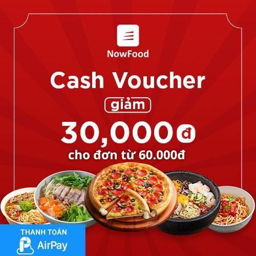 Toàn Quốc [E-Voucher] Đặt món NowFood Giảm 30K (đơn từ 60K) - Áp dụng cho Quán Đối Tác, thanh toán bằng AirPay
