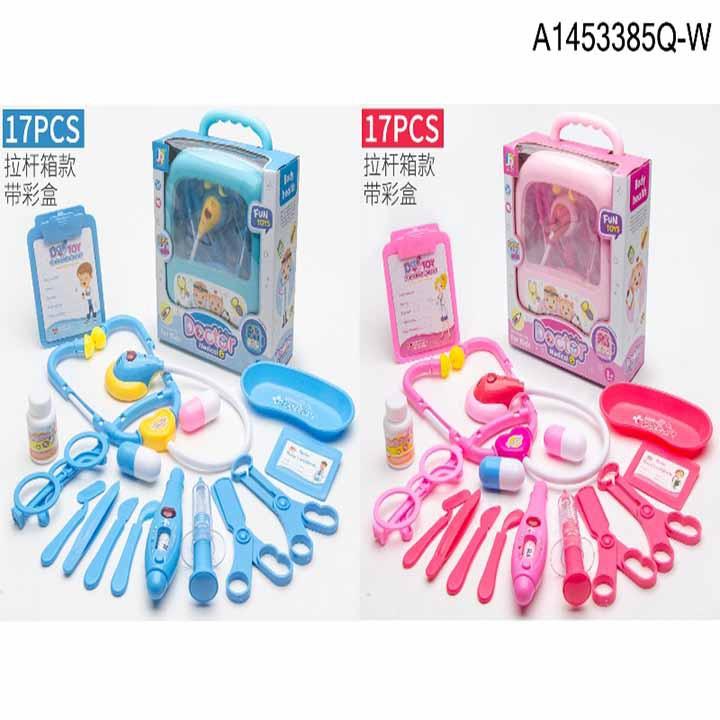 (LOẠI ĐẠI) Đồ chơi valy kéo bác sĩ dùng pin có đèn thiết kế giống thật 17 chi tiết dành cho bé trai và bé gái siêu bền