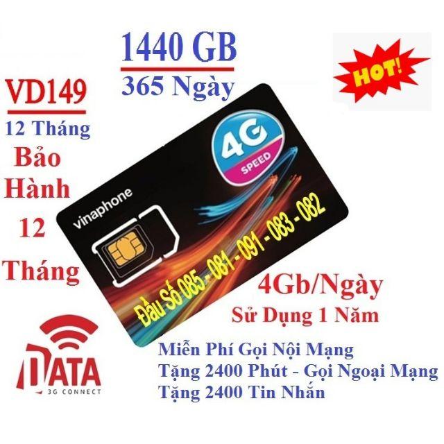 MIỄN PHÍ 12THÁNG-- sim 4G vina VD149 =4GB/NGÀY VD89 VÀ SIM ĐỈNH