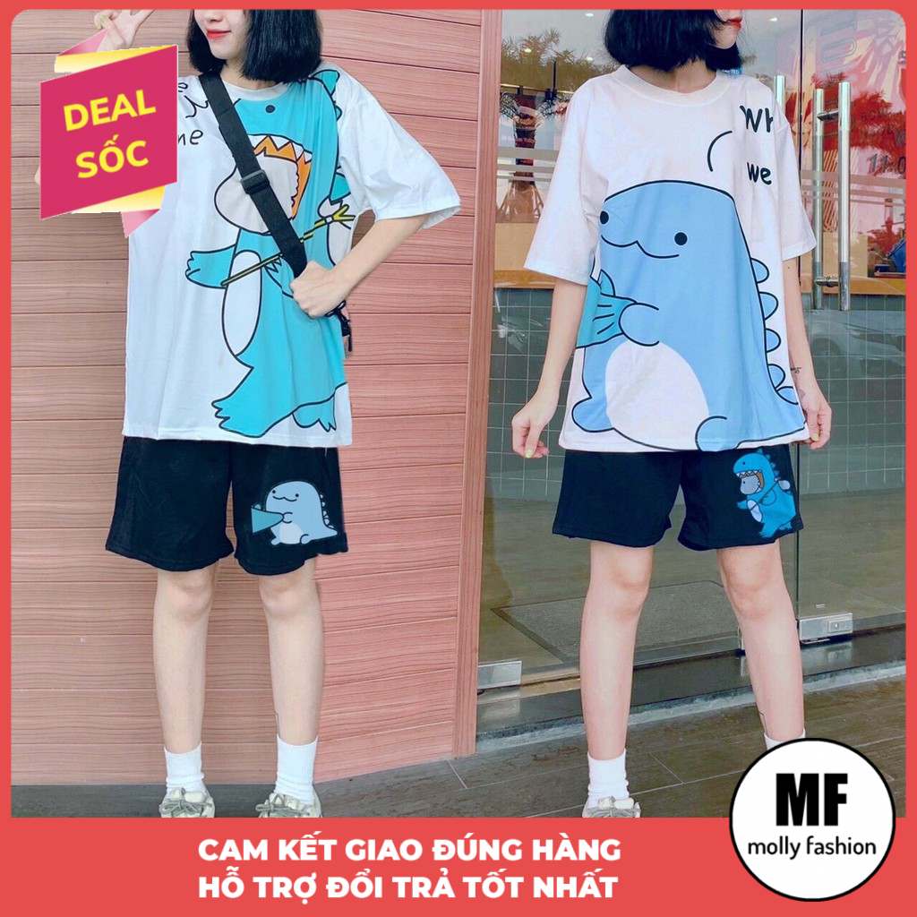 Set bộ cartoon hoạt hình Klong We Home form rộng Unisex Molly Fashion