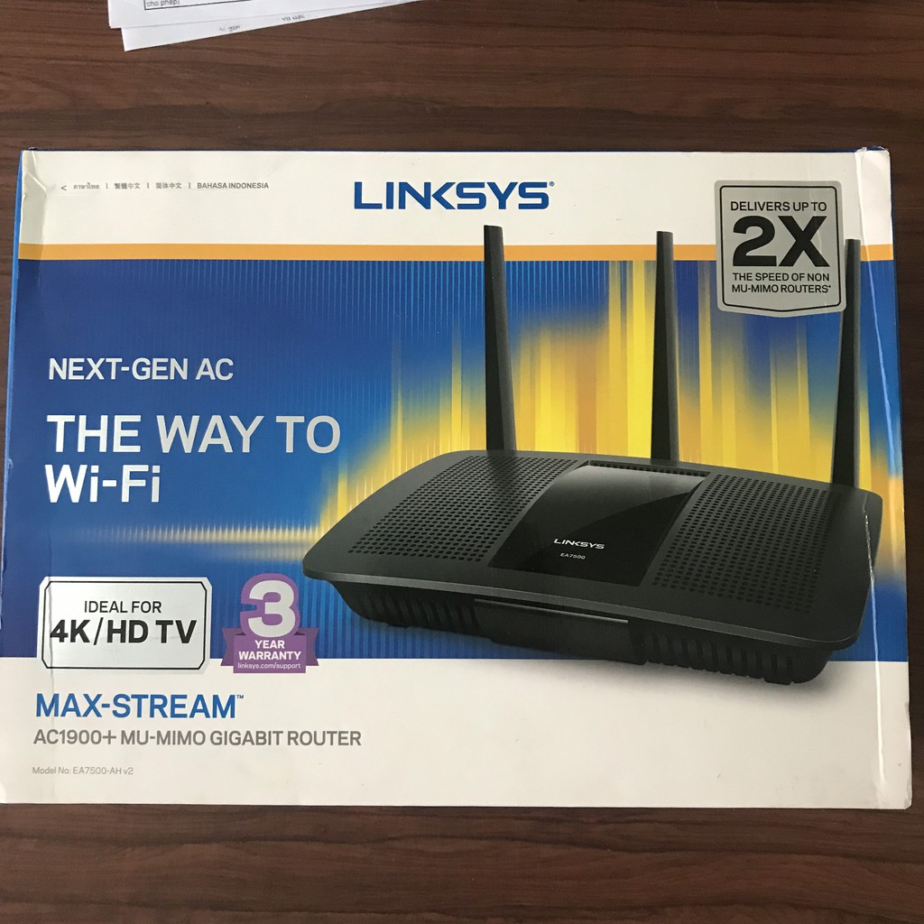 Bộ phát wifi LINKSYS EA7500 chuẩn AC1900 Mu-mimo hàng mới 100% nguyên hộp