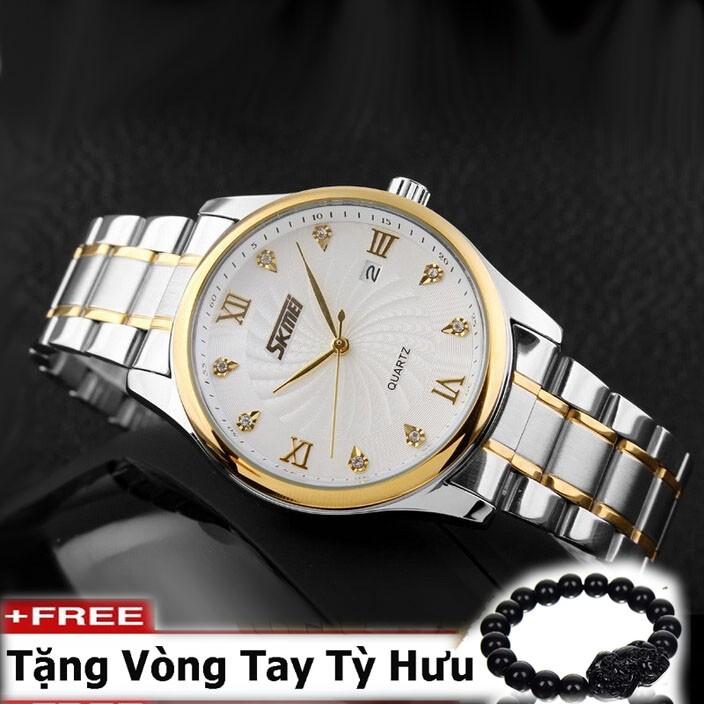 Đồng hồ nam dây thép không gỉ cao cấp SKMEI ( Mặt trắng )