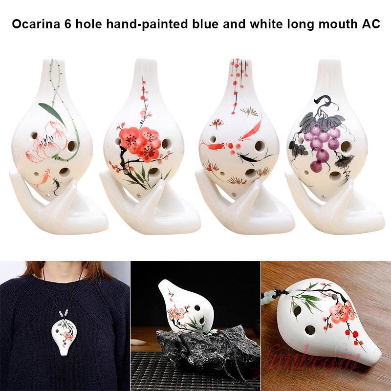 [FB] Ocarina 6 Holes Flower Pattern Ceramic AC Key Musical Instrument For Beginner