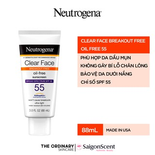 Kem chống nắng da mụn Neutrogena Clear Face Break-Out Free Liquid Lotion SPF 55 ( 88mL )