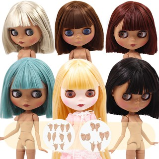 DBS Blyth doll WHITE and Black skin joint búp bê straight hair 1/6 BJD special price on sell