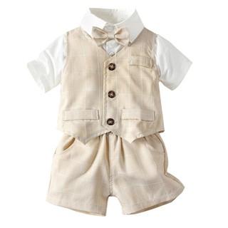 Bộ đồ quý ông gồm áo thun kẻ sọc + quần short cho bé trai