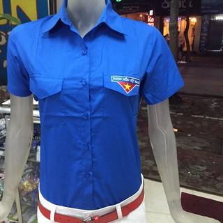 Áo Đoàn nam + nữ vải lon Mỹ, Mác thêu nổi CỘC TAY