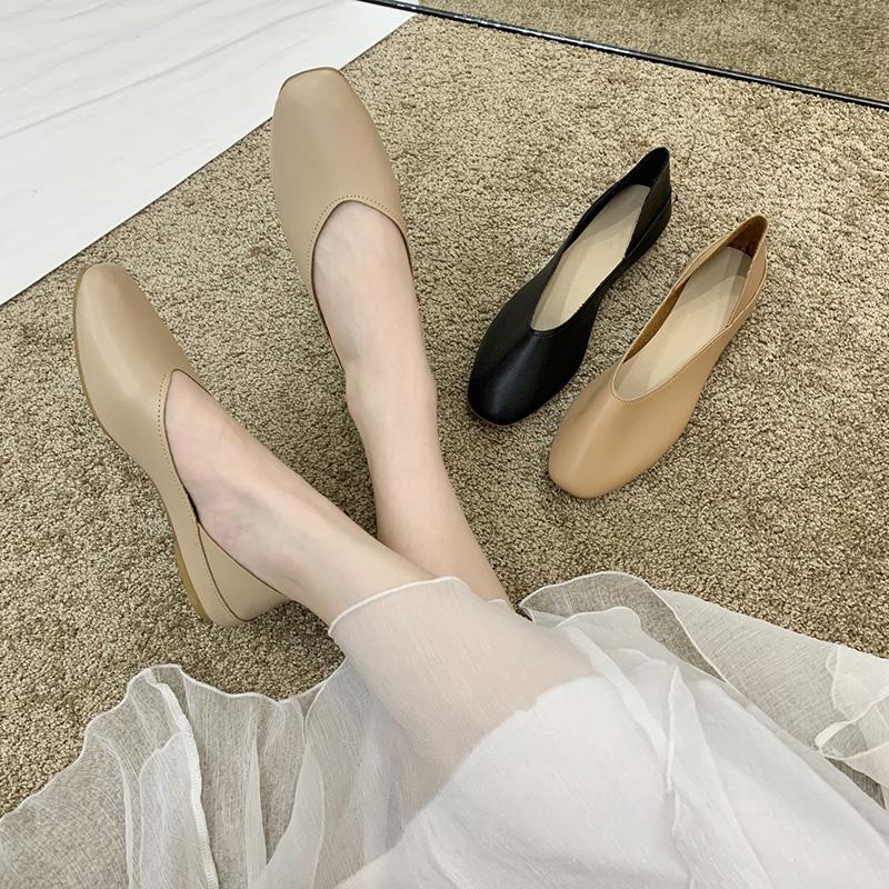 Giày Da Bệt Giày Đế Bằng Thời Trang Cho Nữ