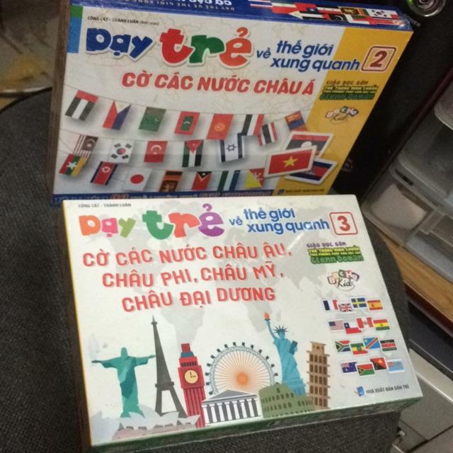 Combo dạy trẻ thế giới xung quanh cờ các nước( giá 320k)