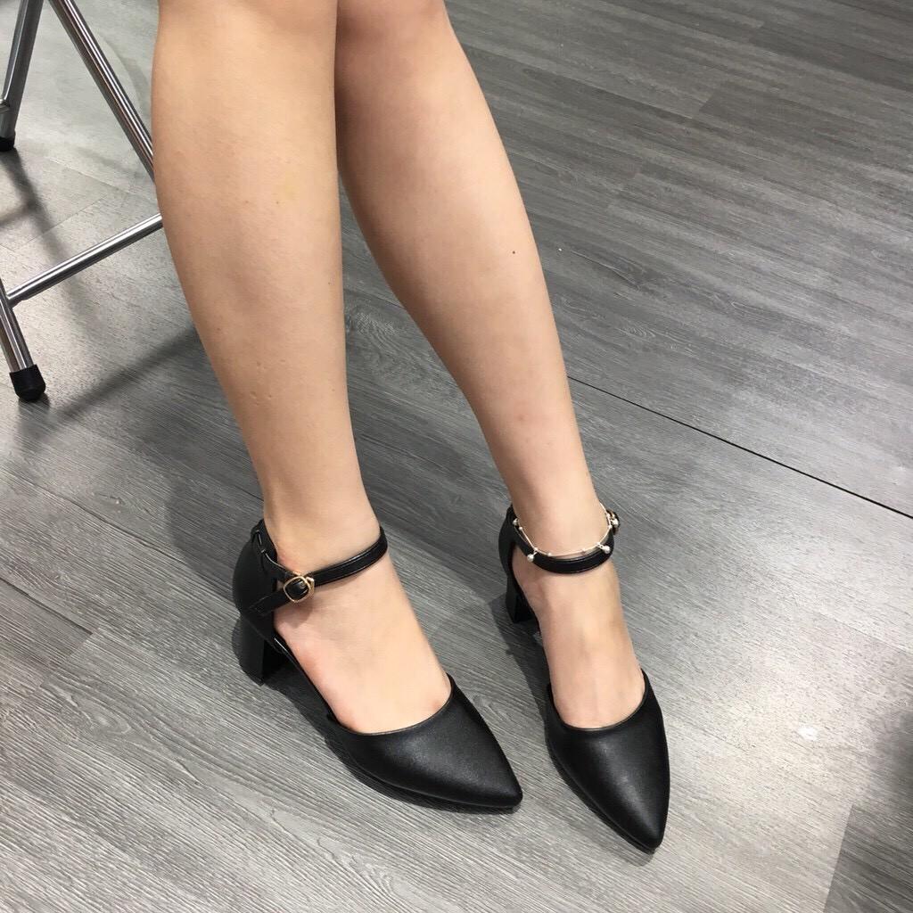 Giày cao gót 5 phân mũi trơn gót vuông siêu đẹp kiểu dáng công sở thanh l