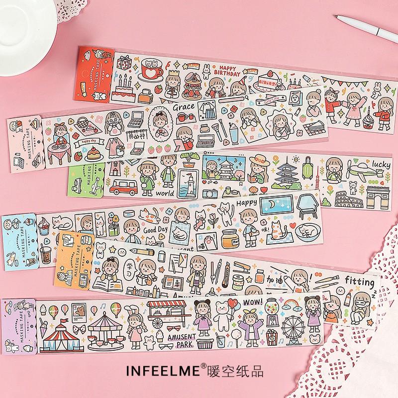 Sticker Cute 💖 Hình Dán Cô Gái Dễ Thương Stick Me Washi Tape Chiết Trang Trí Bàn Học Sổ Planner Bullet Journal Hàn