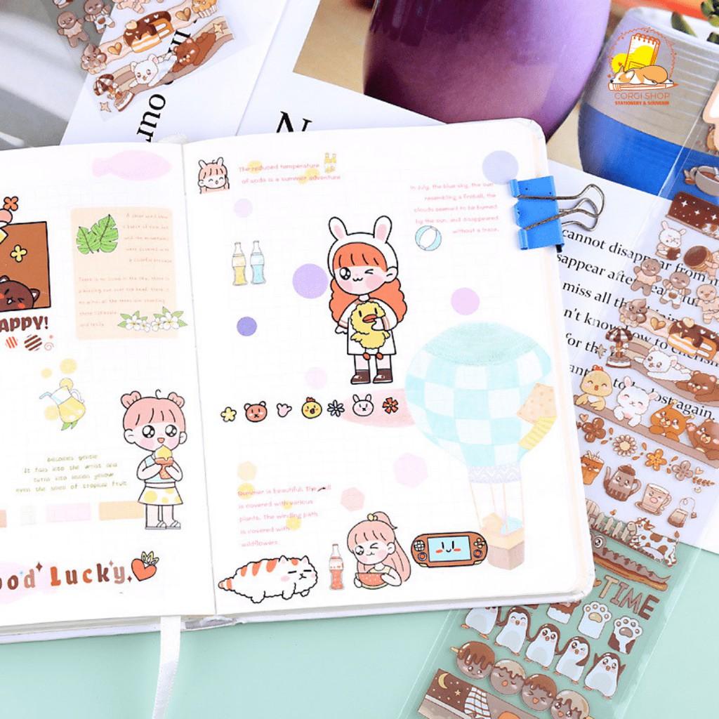 Hình dán sticker trang trí họa tiết cô gái, động vật hoạt hình dễ thương
