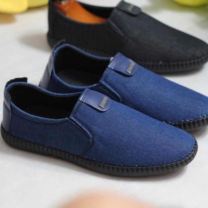Giày lười vải jean nam cao cấp bảo hành 12 tháng V02