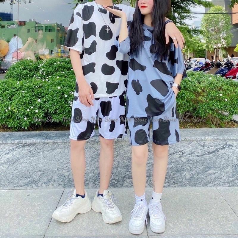 Set áo thun bò sữa form rộng+ Quần short đùi bò sữa Unisex Nam nữ - Set bộ bò sữa - Set đồ đôi
