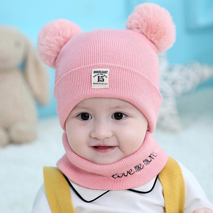 Mũ len trẻ em 2 quả bông kèm khăn quàng cổ giữ ấm cho bé dưới 3 tuổi