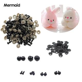 100 Pcs Black Plastic Toy Eyes Safety DIY 6-14mm for Teddy Bear Animal Dolls