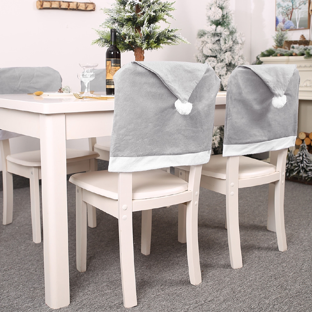 Christmas Chair Cover Case Back Santa Hat Grey Home Dinner Party Table Decor