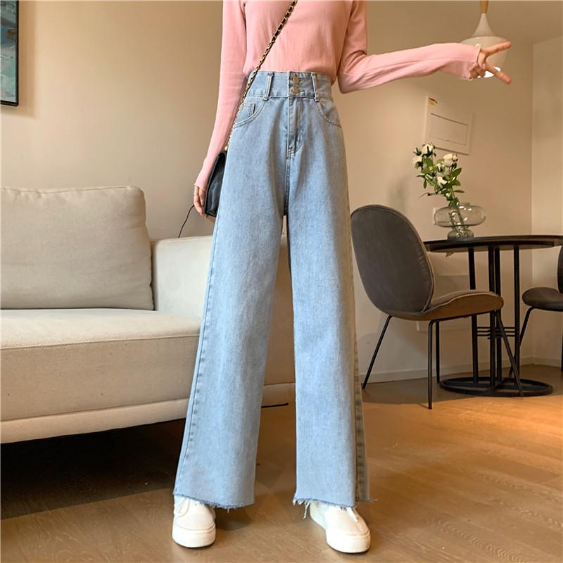 Quần Jeans Nữ Dài Lưng Cao Mài Rách Thời Trang Hàn