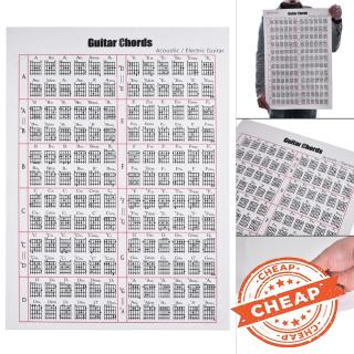 Acoustic / Electric Guitar Chord & Scale Chart Poster Tool Lessons Music Learning Aid Reference