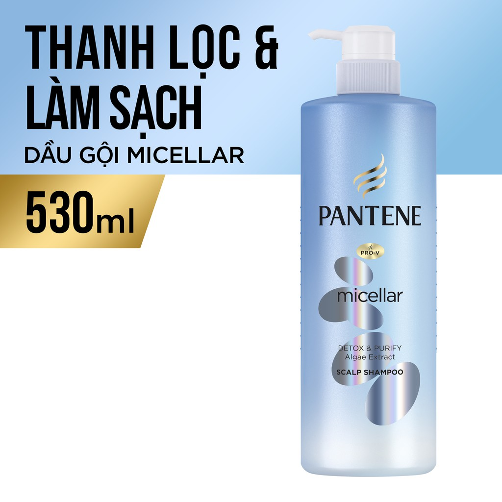 Dầu gội Pantene Micellar Làm sạch sâu chiết xuất Tảo biển 530 ml