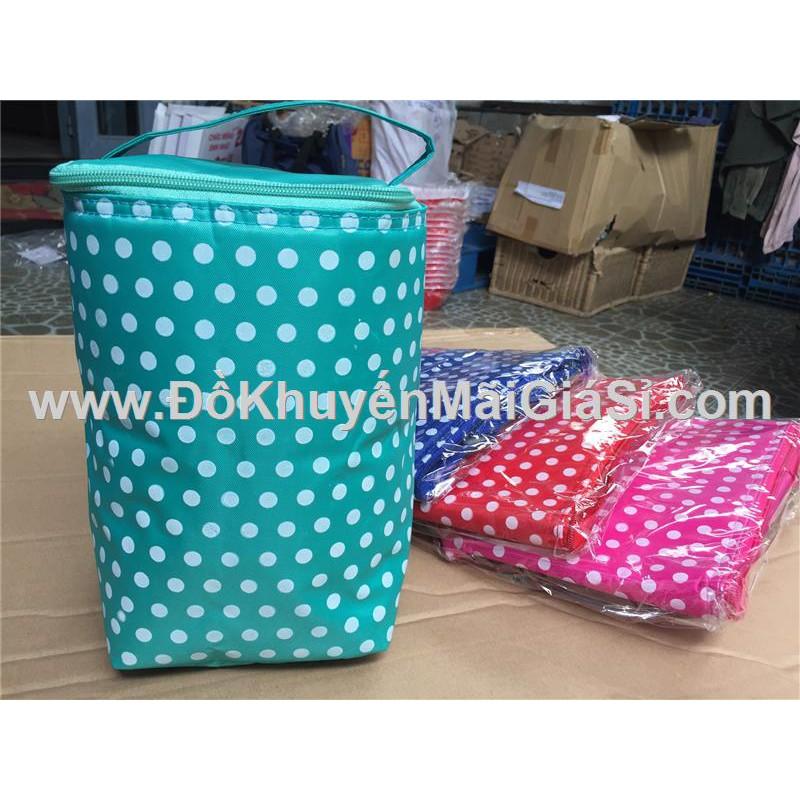 Túi giữ nhiệt chấm bi 2 lớp hình vuông - Có 4 màu: Xanh lá, xanh dương, hồng, đỏ