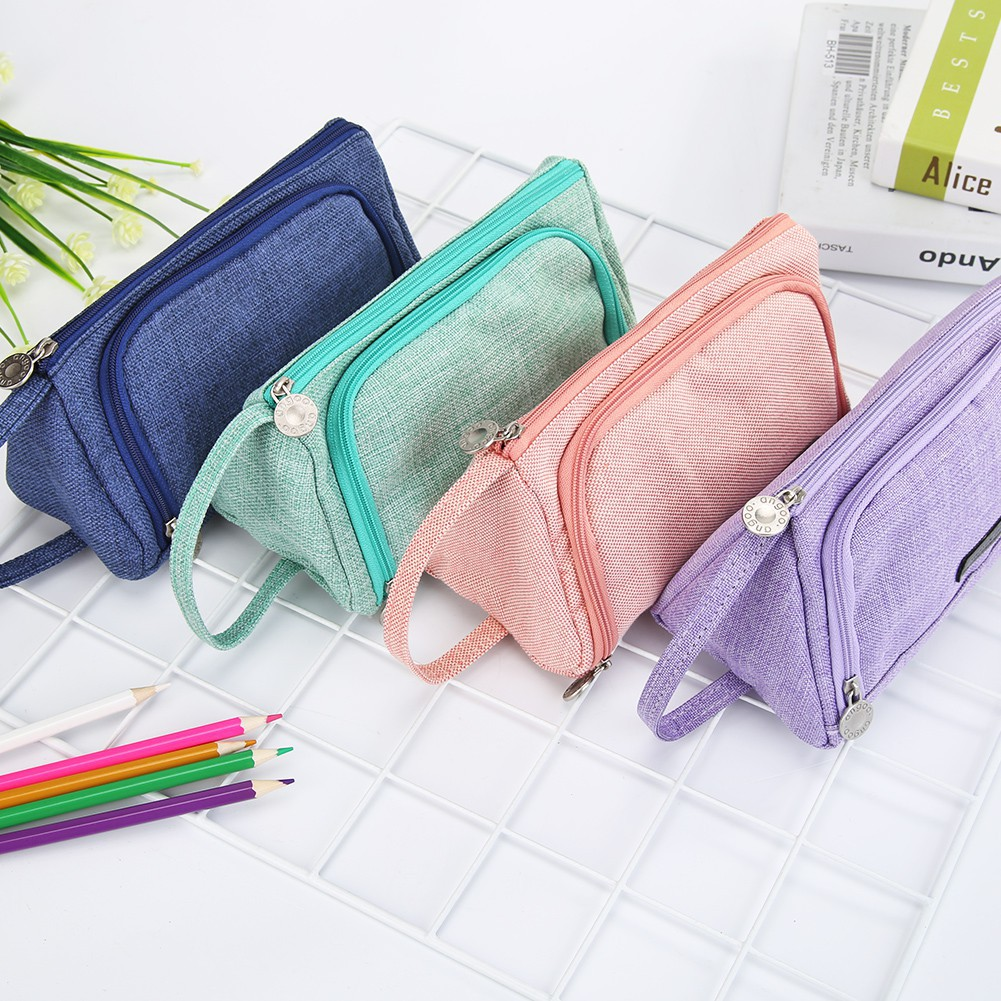 Pencil Case Large Capacity Pencil Case JK Home&Living Ready Stationery Storage Bag Canvas Pen Bag