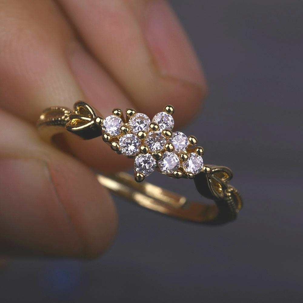 186ef195030807 Adjustable Dainty Cute Women's 14K Gold Plated Snowflake 9 Diamond Rings  Delicate Rings Gemstone Rings Wedding Jewelry