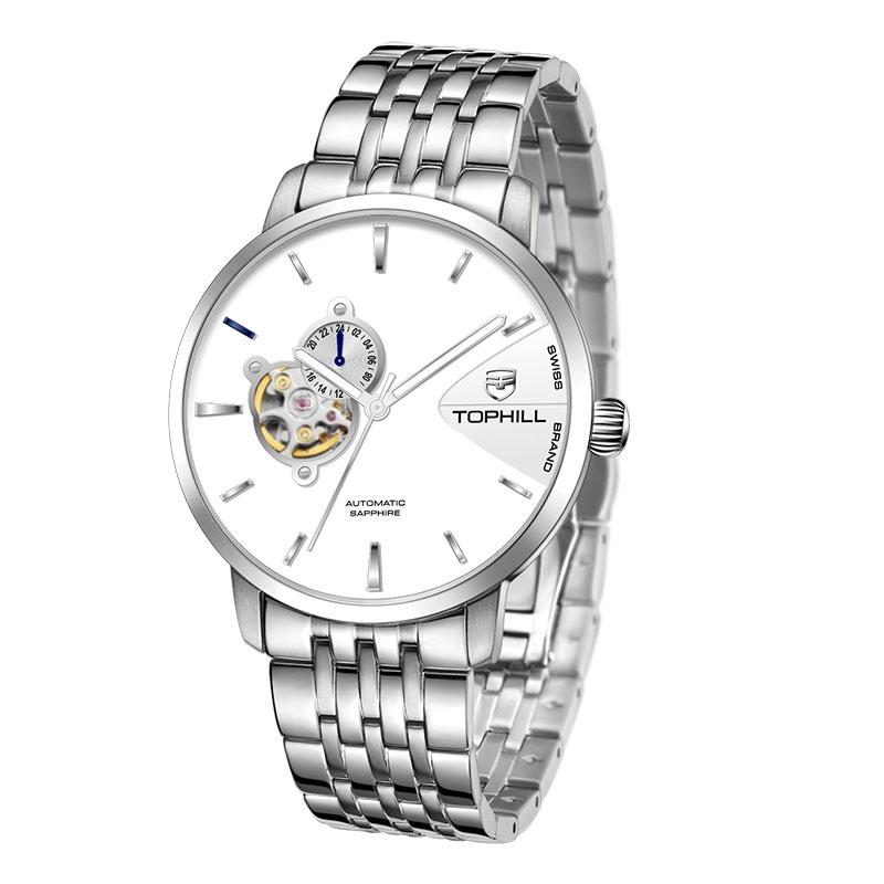 Đồng hồ nam chính hãng TOPHILL TW083G.S1258 - Dây thép - kính Saphire