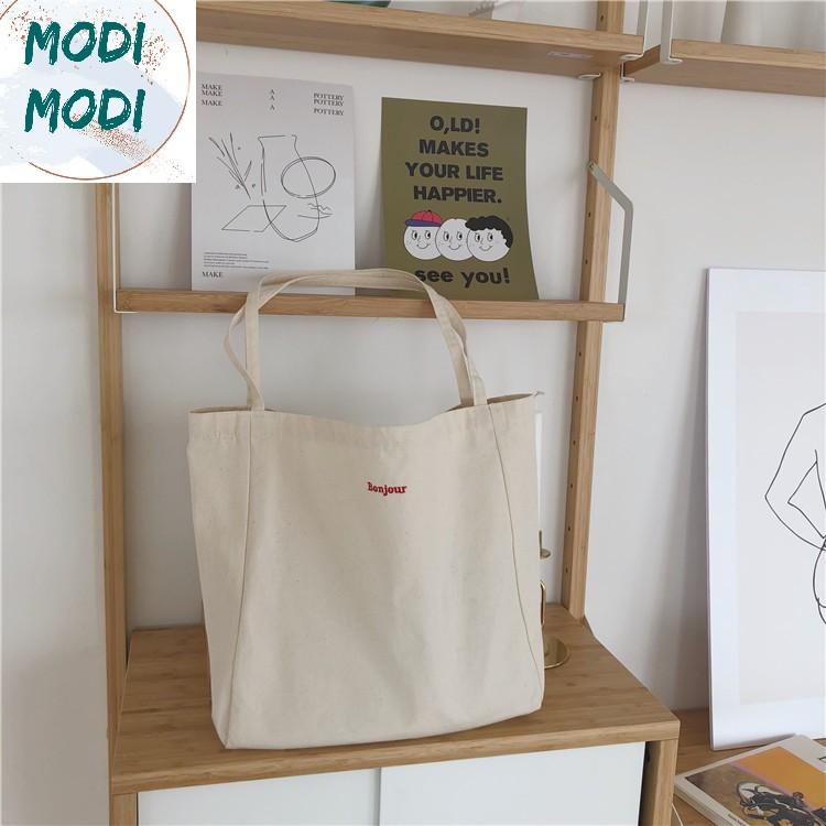 Modi MD50- Túi tote vintage size lớn thêu chữ