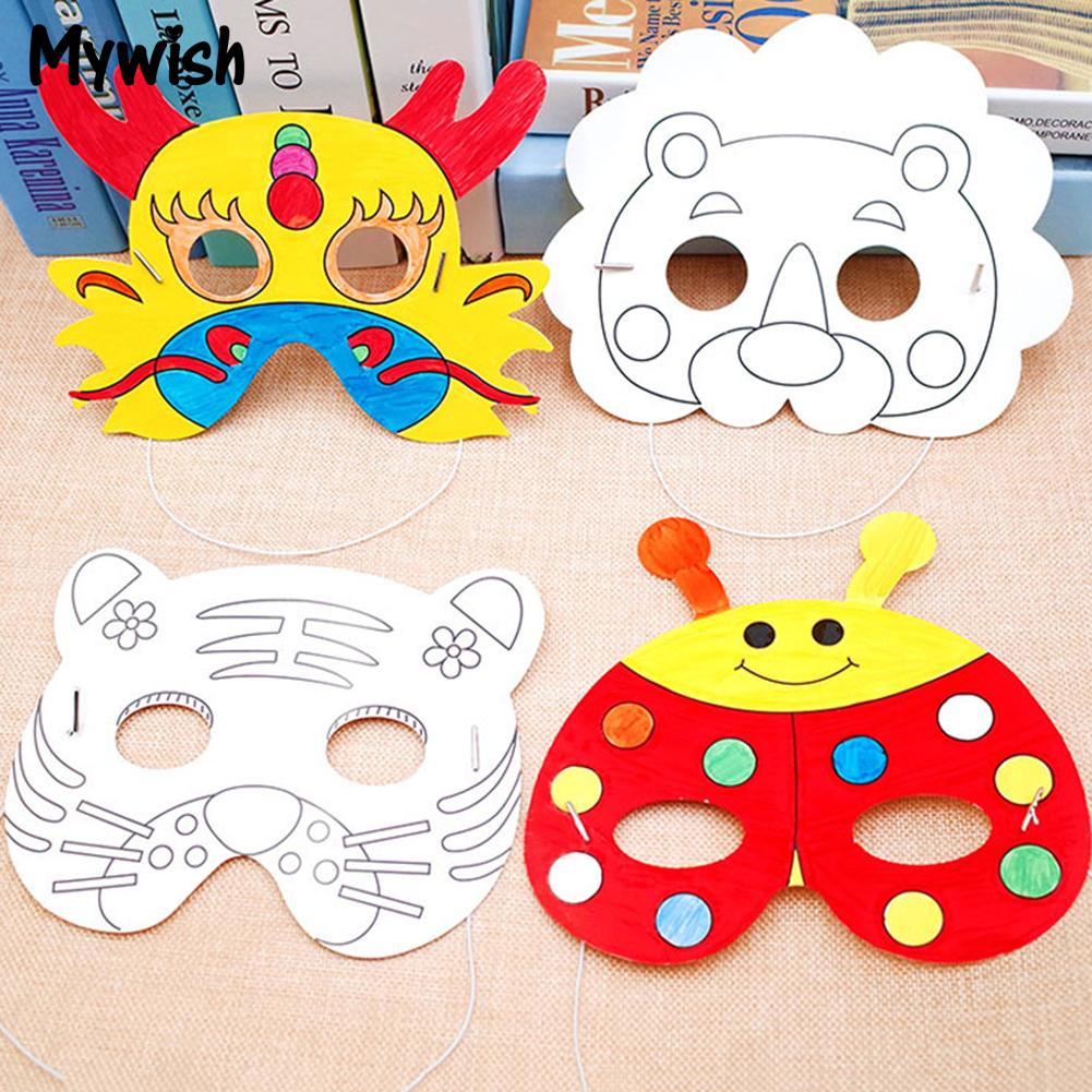 MYWISH Cartoon Animal Paper Painting Mask Graffiti DIY Art Crafts Kindergarten Kids Toy