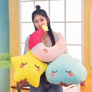 Stars moon cloud pillow pillow plush toy ins wind cute pillow children solid col