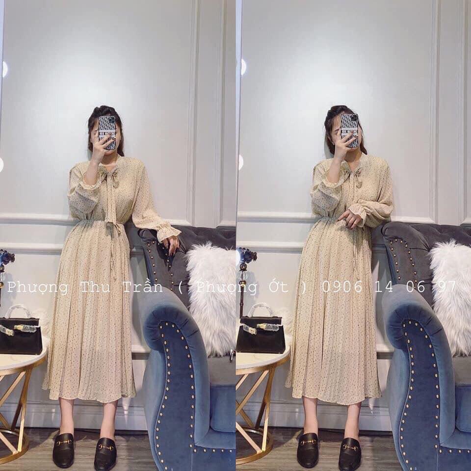 Váy bi BUỘC NƠ CỔ kèm dây eo(kèm video,ảnh thật)