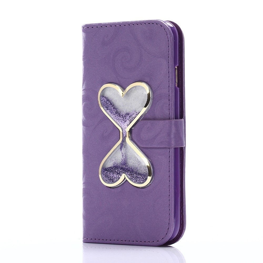 Bao da họa tiết đồng hồ cát trái tim đôi cho iPhone 7 7P 6 6S 6P 6SP 5 SE